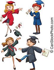 simple, bosquejo, graduados, coloreado