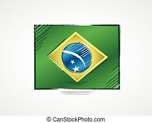 Simple brazilian flag with bright colors in draft format