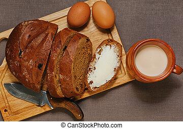 Simple breakfast in eastern european style