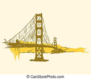 Golden Gate Bridge - Simple brown and yellow panorama of the...