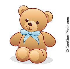 Simple brown teddy bear vector