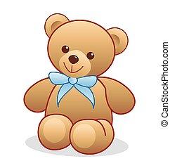 Simple brown teddy bear vector