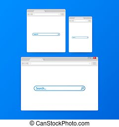 Simple browser window on blue background. Browser search. Web browser in flat style. Vector illustration.