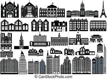 Simple buildings - Set of black symbols of buildings, ...