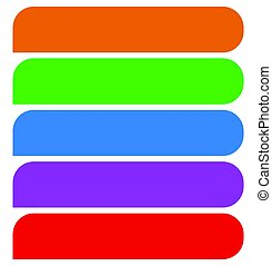 Simple button (or banner) shapes, background in 5 matching colors. Web buttons, web banners