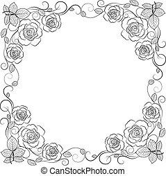 simple, cadre, isolé, arrière-plan., noir, floral, blanc