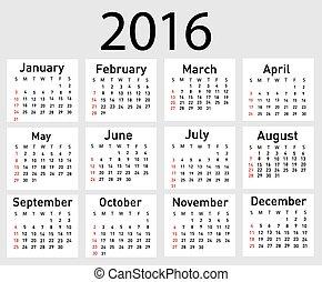 simple calendar 2016