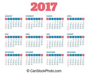 Simple calendar 2017 template