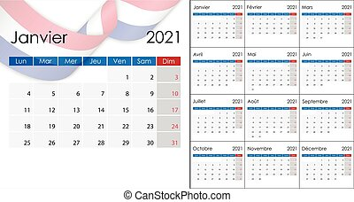 Simple Calendar 2021 on French language, week start on ...