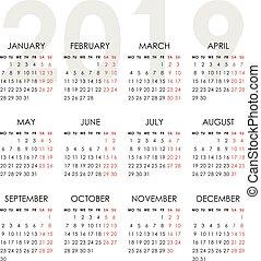 Simple calendar for 2019 year. Week starts monday - Calendar...