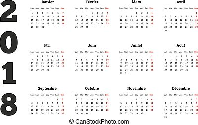 Simple calendar on 2018 year in french language