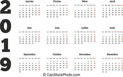 Simple calendar on 2019 year in french language