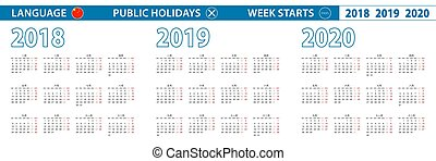 Simple calendar template in Chinese for 2018, 2019, 2020 years. Week starts from Monday.