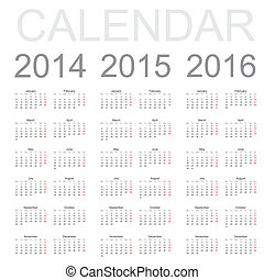 Simple Calendar year 2014, 2015, 2016, vector