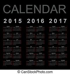 Simple Calendar year 2015, 2016, 2017, vector