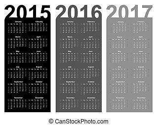 Simple Calendar year 2015, 2016, 2017