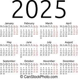 simple, calendario, 2025, lunes