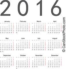 simple, calendrier, 2016, carrée, européen