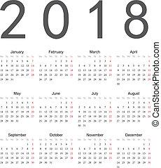 simple, calendrier, carrée, 2018, européen
