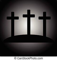 Simple calvary icon with three crosses