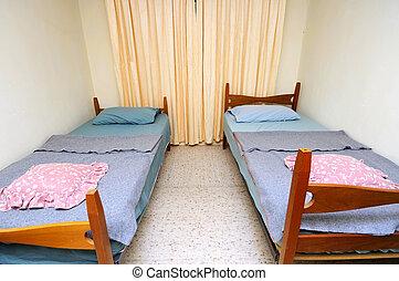 simple, camas, cuarto de motel, gemelo