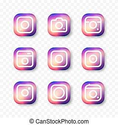 Simple camera icon set social media. - Social media hipster ...