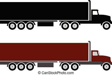 simple, camion caravane, illustration, semi