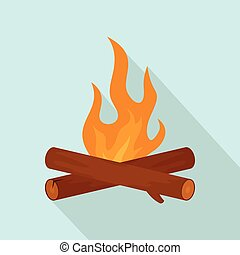 Simple camp fire icon, flat style