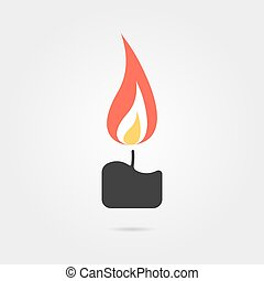 simple candle icon with shadow. concept of flaming...
