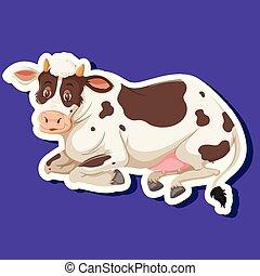 simple, caractère, vache