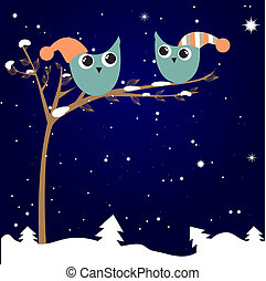 simple card illustration of two funny cartoon owls with christmas hats on a branch