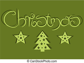 Simple card with green background for christmas time