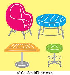 simple, caricatura, muebles