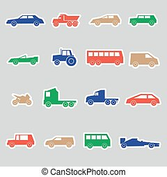 simple cars color stickers collection eps10