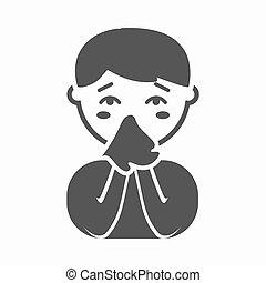 simple., cartoon., grande, corriente, enfermedad, solo, enfermo, nariz, enfermo, icono
