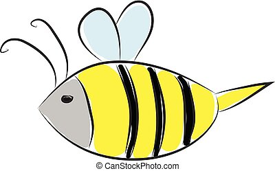 Simple cartoon of a black and yellow bee vector illustration on white background