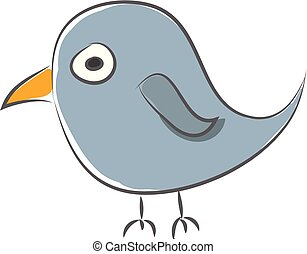 Simple cartoon of a blue sparrow vector illustration on white background