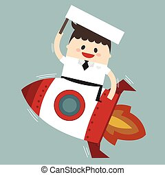 Simple cartoon of a businessman on a rocket. flat design