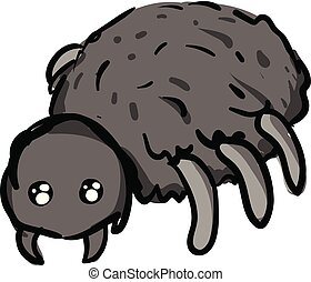 Simple cartoon of a grey spider vector illustration on white background