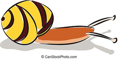 Simple cartoon of a yellow and brown snail vector illustration on white background