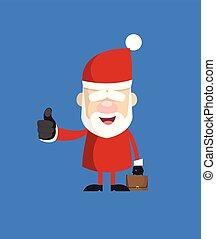 Simple Cartoon Santa - Showing a Thumb Up