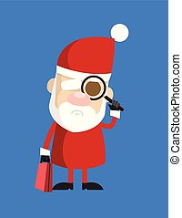 Simple Cartoon Santa - Watching with Magnifier