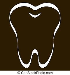 simple cartoon tooth white silhouette on a blue background, teeth, vector illustration icon, logo first tooth. Medical dental office symbols. Care for the oral cavity, dental health, care, hospital