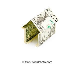 simple, casa, de, un dólar, billete de banco, aislado