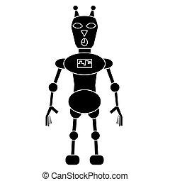 simple, character., isolé, illustration, robot, vecteur, chat