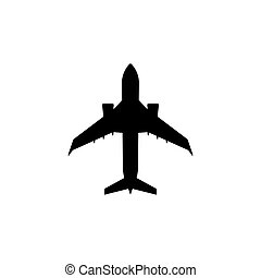 Simple charter passenger plane icon. Jet aircraft silhouette.