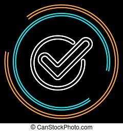 Simple Check Thin Line Vector Icon