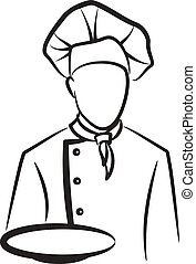 simple, chef cuistot, illustration