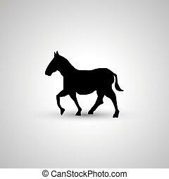 simple, cheval, noir, silhouette, icône