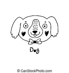 simple, chien, mignon, vecteur, figure, illustration, style., dessin animé